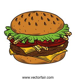 burger fast food beef bun french fries and vegetables tasty