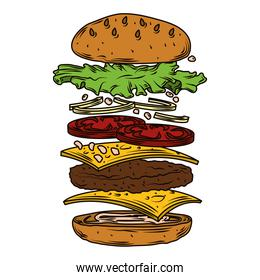 burger layers with refreshing ingredients fast food