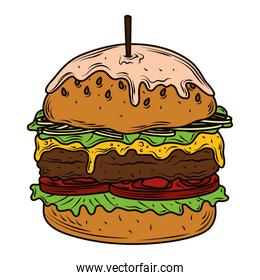 hamburger with melted cheese and toothpick fast food