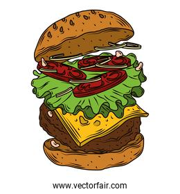 delicious hamburger classic american with lettuce, onion, tomato, beef fast food
