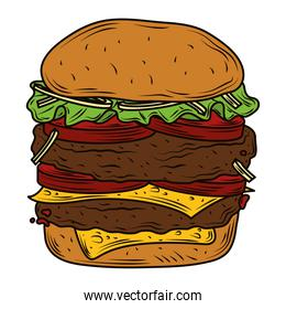 double meat burger with tomato cheese and lettuce fast food