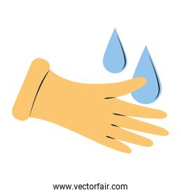 cleaning, rubber gloves and drops water supplies tools equipment