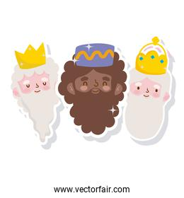 happy epiphany, three wise kings faces stickers icons