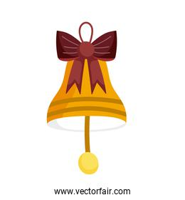 merry christmas bell with bow decoration and celebration icon