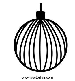 christmas ball decoration festive ornament line icon style white background