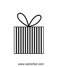 striped gift box with bow line icon style white background