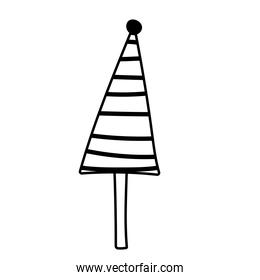 christmas tree with ball decoration line icon style white background
