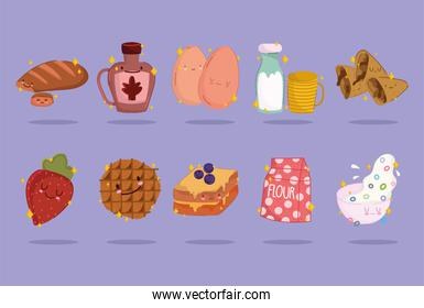 breakfast food fresh cartoon cute icons bread syrup bottle milk cereal fruit cookie and sandwich