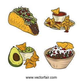 mexican food icons taco nachos guacamole traditional vintage engraved color