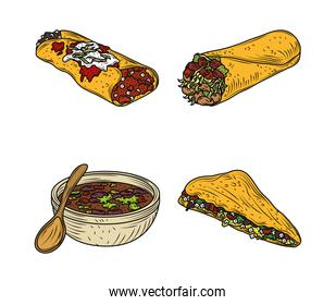mexican food traditional icons enchilada burrito quesadilla sauce, engraved color