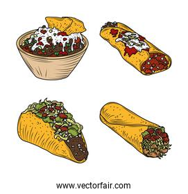 mexican food burrito taco enchilada traditional icons vintage engraved color