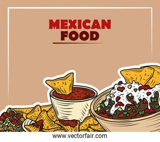 mexican food traditional nachos sauce meat gucamole sauce and cheese, vintage engraved color