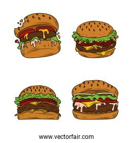burger set, hamburgers, with lettuce tomatoes and cheese, fast food