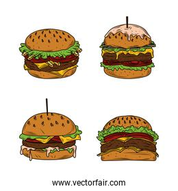 hamburgers fast food set with melted cheese, tomato, lettuce bread sesame