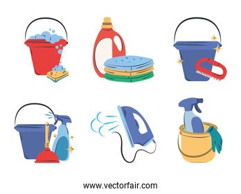 cleaning icon set bucket sponge detergent electric iron spray and laundry clothes
