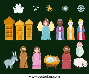 happy epiphany, three wise kings mary joseph baby and animals icons