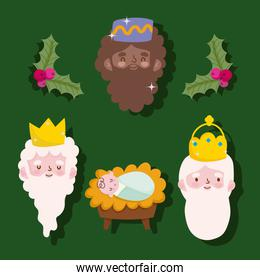 happy epiphany, three wise kings faces and baby jesus green background