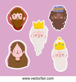 happy epiphany, joseph mary and three wise kings faces stickers
