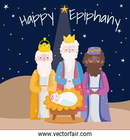 happy epiphany, three wise kings with baby jesus desert night card