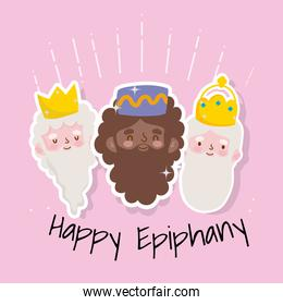 happy epiphany christian festival, three wise kings
