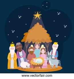 happy epiphany, three wise kings sacred family and angel