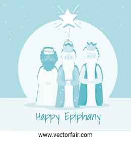 happy epiphany, three wise kings from the east, melchor, gaspar and balthazar