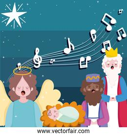 happy epiphany, three wise kings baby jesus and angel sing christmas carols