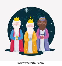 happy epiphany, wise men with gift box for the birth of baby jesus