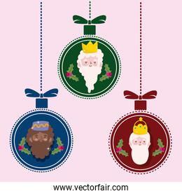 happy epiphany, three wise kings in hanging balls decoration