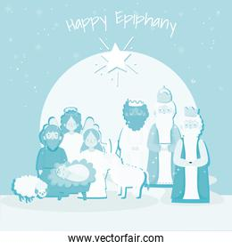 happy epiphany, mary joseph baby jesus three wise kings in silhouette style