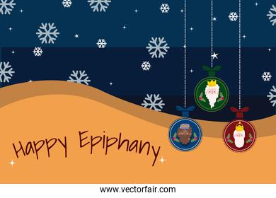 happy epiphany, three wise kings in hanging balls, snowflakes decoration