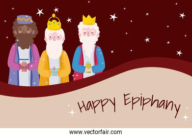 happy epiphany, three wise kings snowflakes greeting card