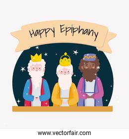 happy epiphany, three wise kings celebration traditional