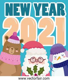 happy new year cute santa snowman and bear with number and text card
