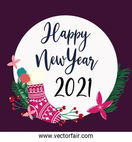 happy new year stocking floral foliage flower decoration label