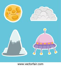 space cute icons ufo cloud and planet collection