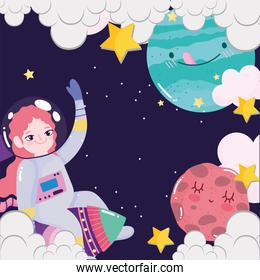 space astronaut girl in rocket planets clouds stars galaxy cute cartoon