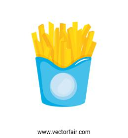 fast food concept, french fries box icon, colorful design