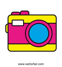 pink and yellow camera device icon vector design