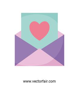 envelope with one card and one heart coming out of it