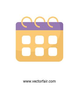 calender with yellow color on a white background