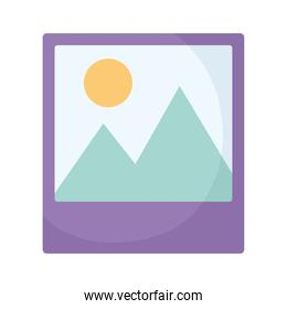 image icon with purple color and a landscape inside it