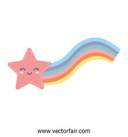 star smiling with rainbow