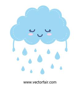 weather icon of a raining cloud on white background