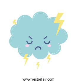 weather icon of a angry cloud with thunders