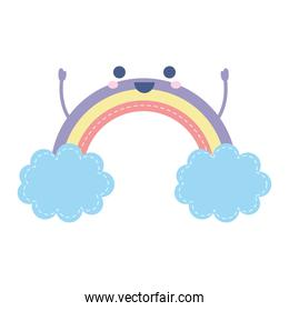 rainbow smiling with two blue clouds