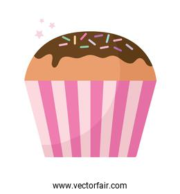 cupcake topped with chocolate and sprinkles frosting