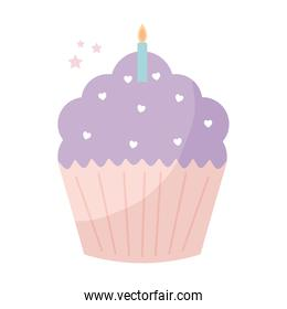 cupcake topped with purple frosting and one candle on the top