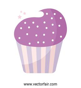 cupcake topped with purple frosting on a white background