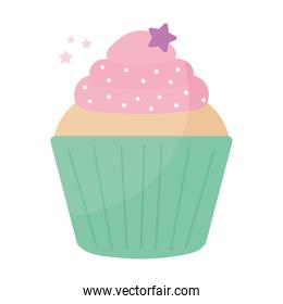 cupcake topped with pink frosting and purple star on the top
